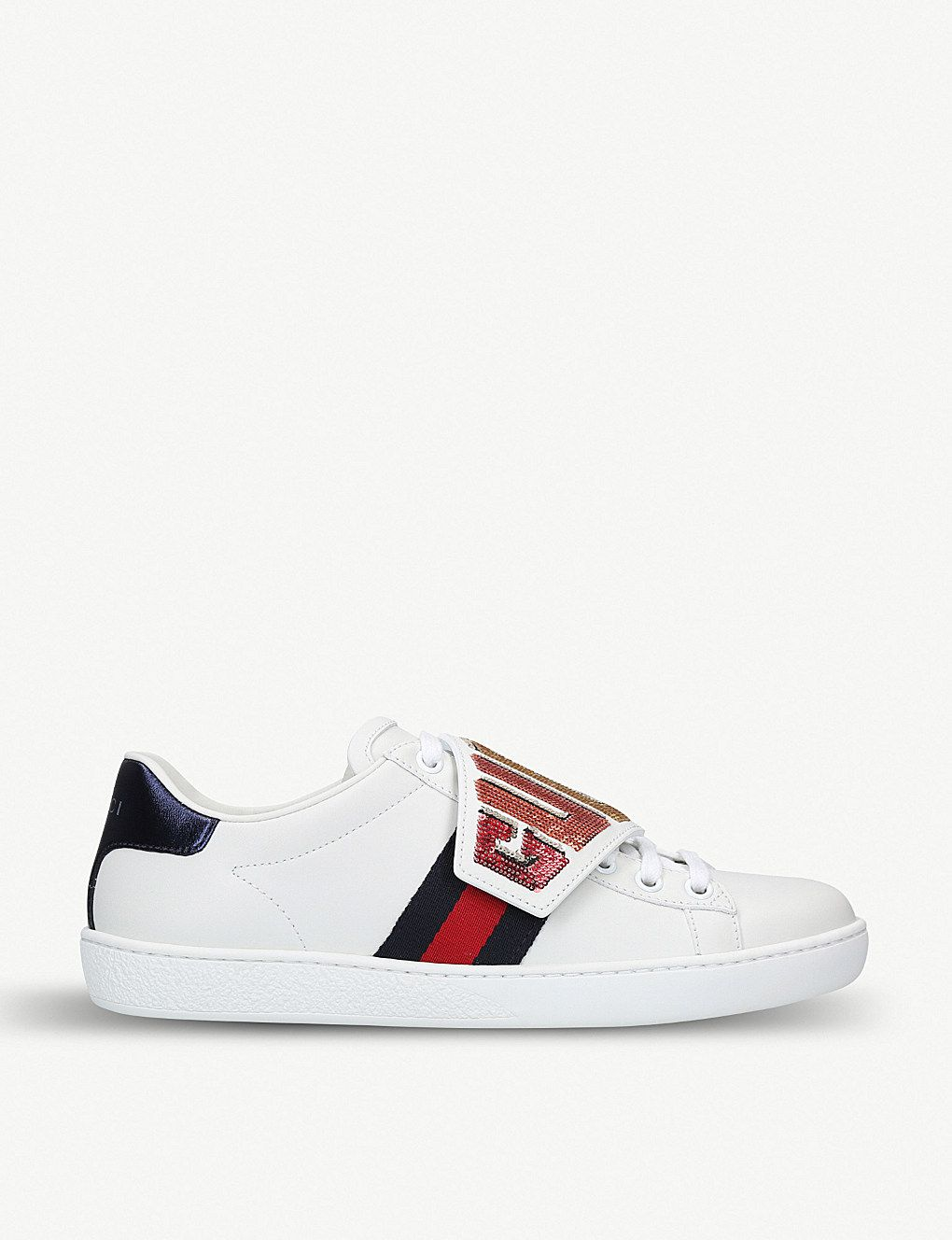 a1c8cbad6251 GUCCI - New Ace sequin-embellished leather trainers