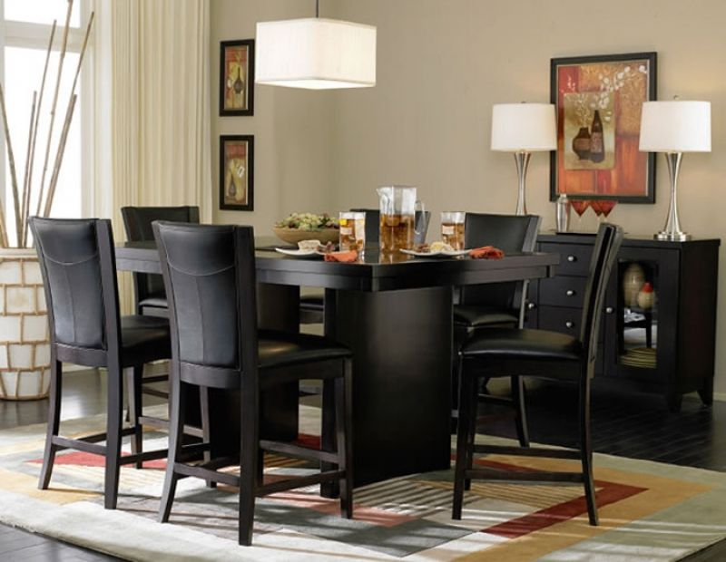 Gorgeous Black Dining Room Sets Dining Room Table Bench Height Counter  Heightu2026