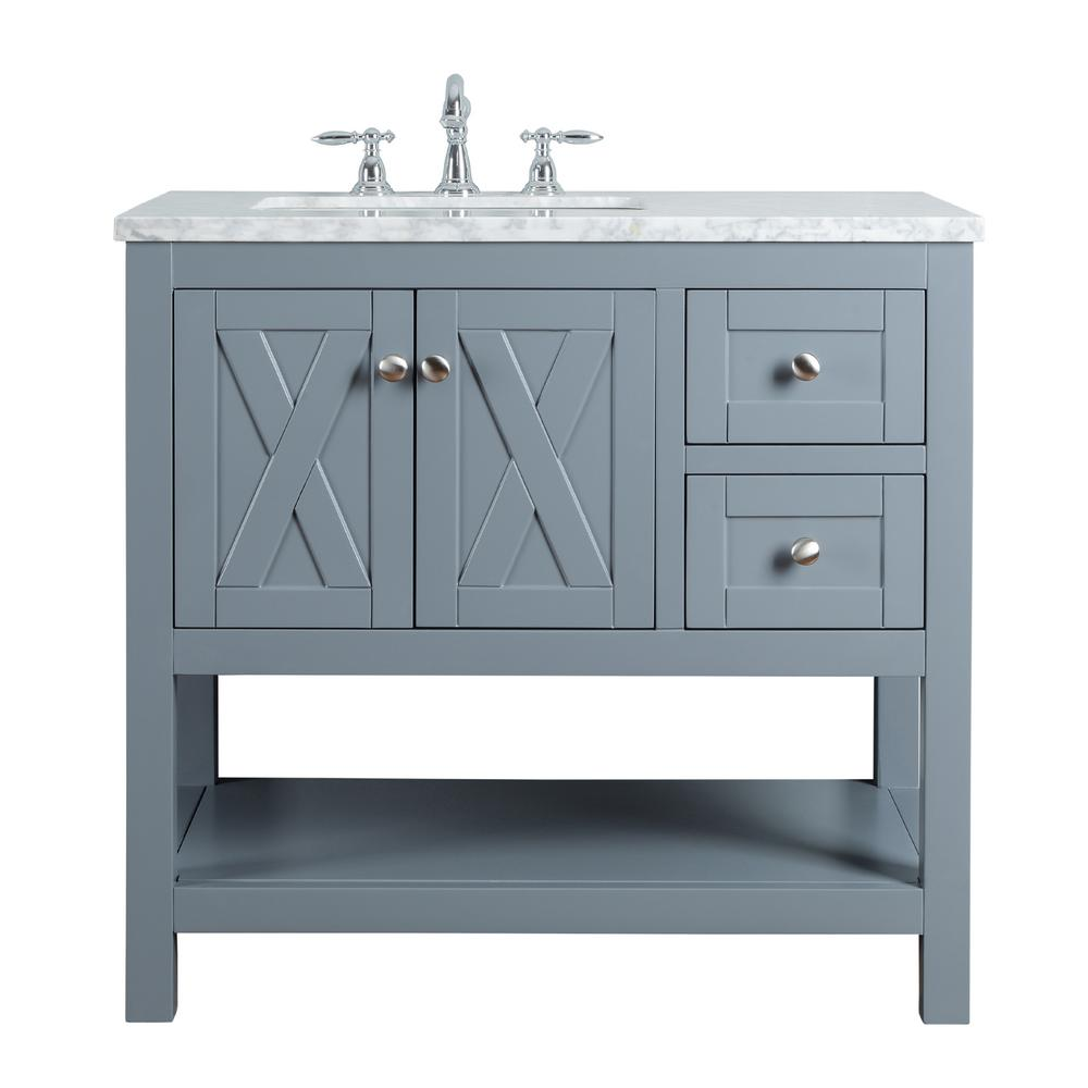 Stufurhome Anabelle 36 In Grey Single Sink Bathroom Vanity With Marble Vanity Top And White Basin Hd 1527g 36 Cr The Home Depot Single Sink Bathroom Vanity Single Bathroom Vanity Bathroom Sink Vanity
