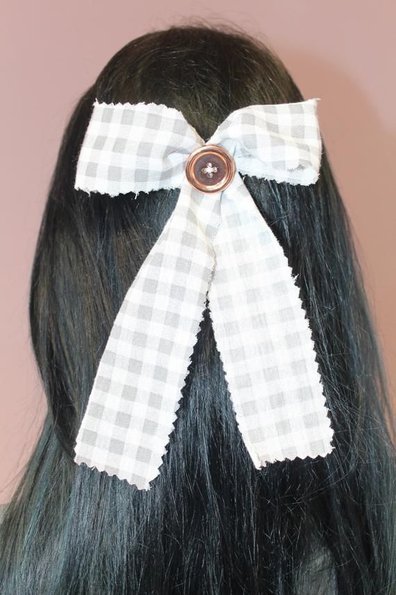 Pretty Disturbia Gorgeous Handmade Alternative Punk Grunge Buttoned Grey and White Hair Bow Accessory Patched Hair Clip