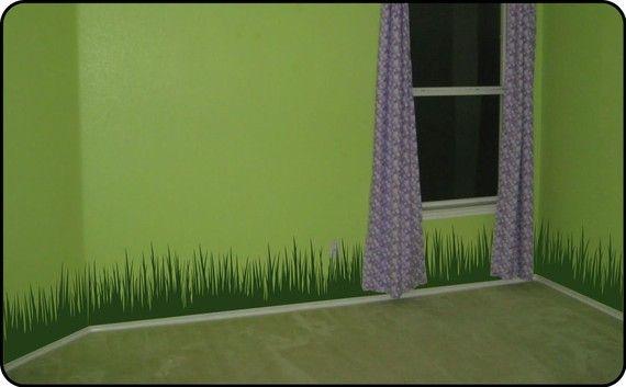 "grass wall decal border (12"" tall x 120"" long) - removable vinyl"