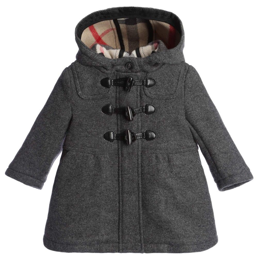 Girls Grey Wool Duffle Coat with Hood, Burberry, Girl | JACKETS ...