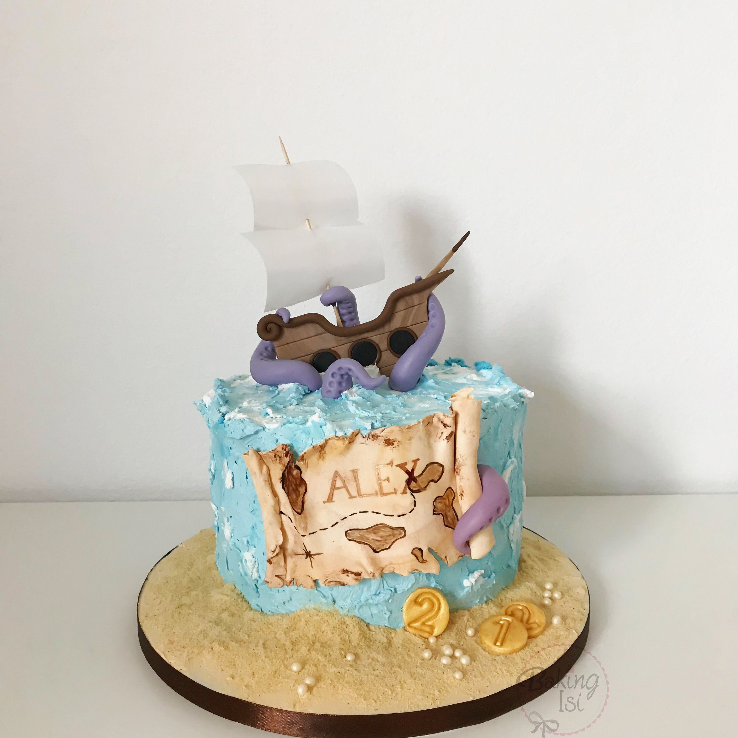 Outstanding Pirate Cake Pirat Piraten Boy Boys Cake Sea Ship Treasure Birthday Cards Printable Inklcafe Filternl