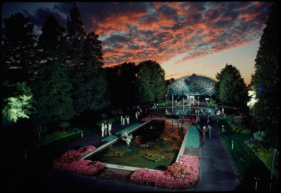 A reception is held at the Missouri Botanical Gardens in