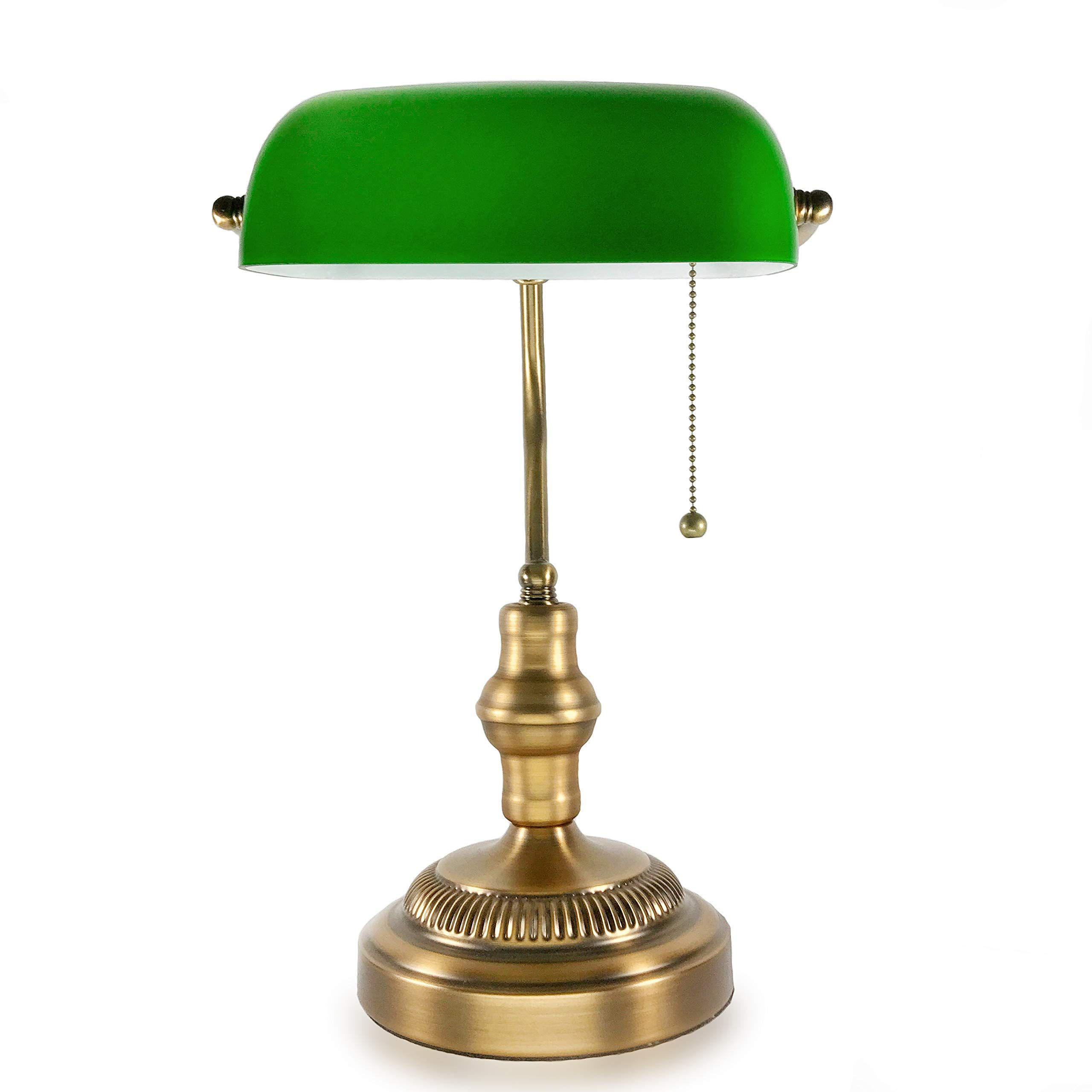 Traditional Bankers Lamp Brass Base Handmade Emerald Green Glass Shade Vintage Office Table Light Antique Style Desk La In 2020 Lamp Antique Style Desk Bankers Lamp