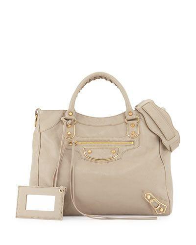 676c1012993 V2QFD Balenciaga Metallic Edge Golden Velo AJ Bag, Taupe | Handbag ...