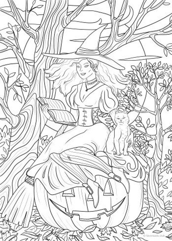 Witchcraft , Printable Adult Coloring Page from Favoreads