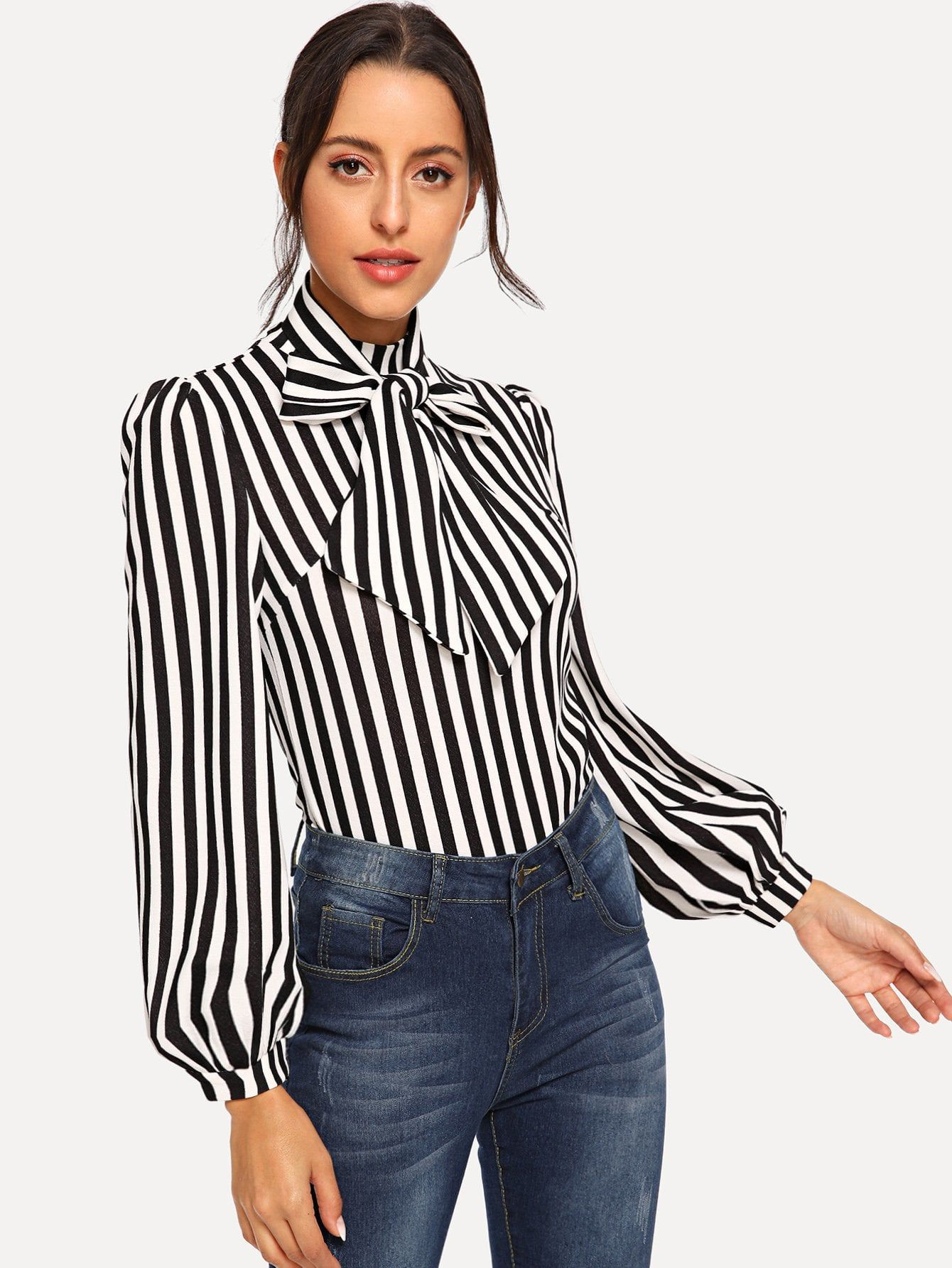 20a841e288b Classy Striped Top Regular Fit Stand Collar Long Sleeve Bishop Sleeve Half  Placket Black and White Regular Length Tie Neck Striped Top