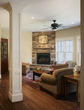 Interior Columns Design Ideas Pictures Remodel And Decor Interior Columns Corner Stone Fireplace Corner Fireplace