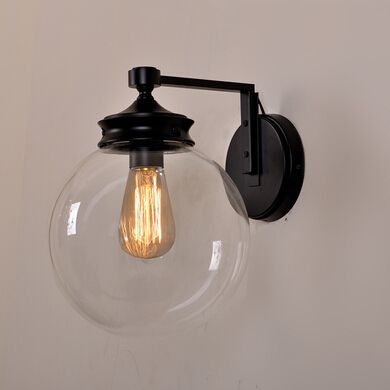 Simple Glass Wall Sconces : American Simple Arm Wall Lamp Living Room Edison Bulbs Wall Light Glass Shade Wall Sconce ...