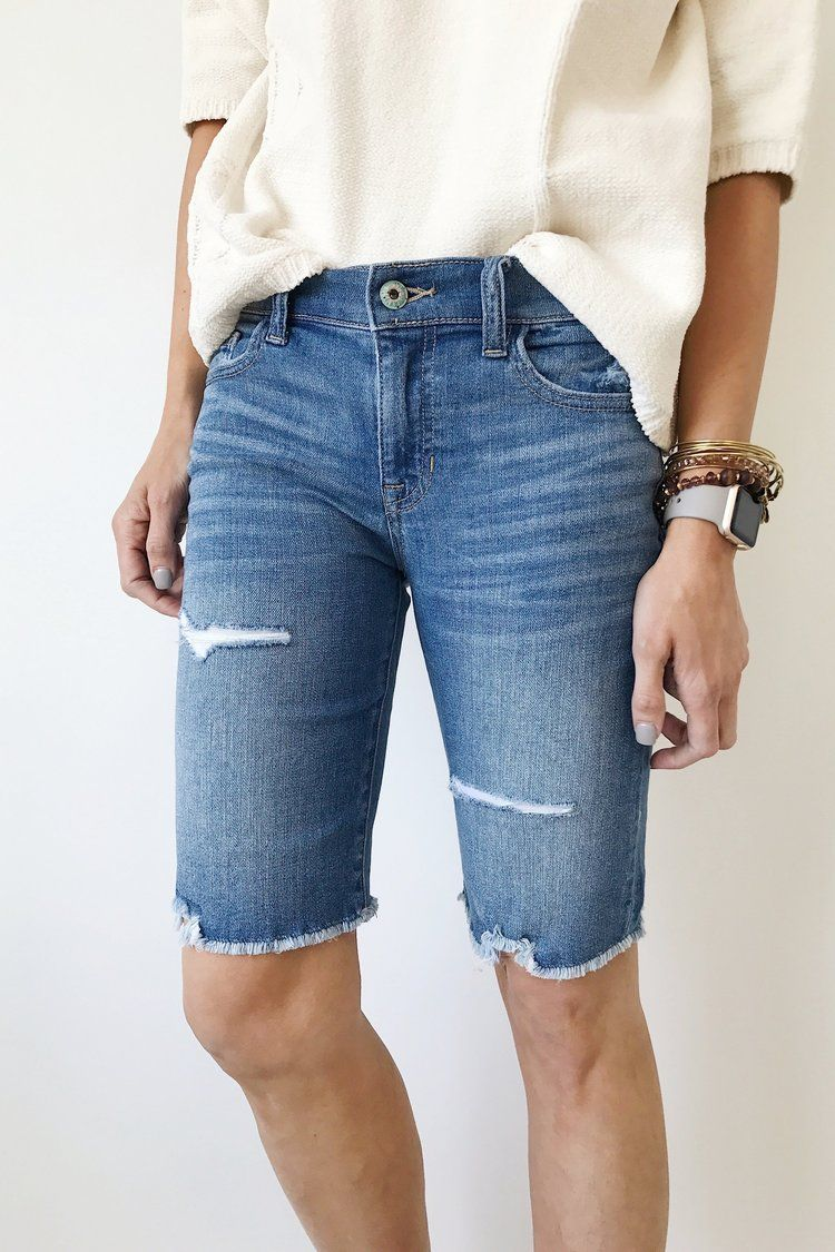 e5a99305aa Distressed Raw Hem Denim Bermuda Shorts | ROOLEE | fashions I like ...