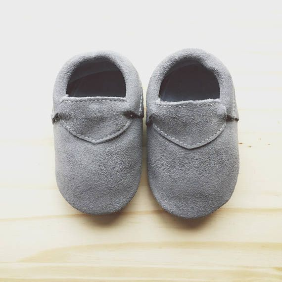 Genuine Grey Leather Baby Shoes Gray