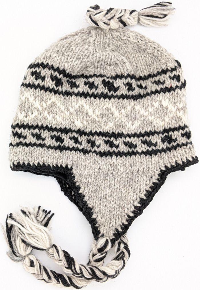 Earflap Hat Women Hat Gift Idea Ski Hat Wool Ear Flap Hat with flaps  BLACK GRAY  Knit Beanie