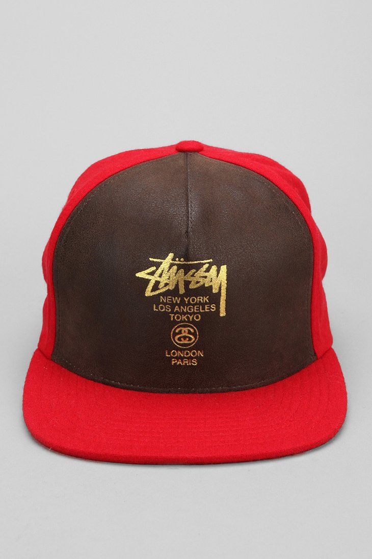 88eb8701541 Stussy World Tour Faux-Leather Snapback Hat