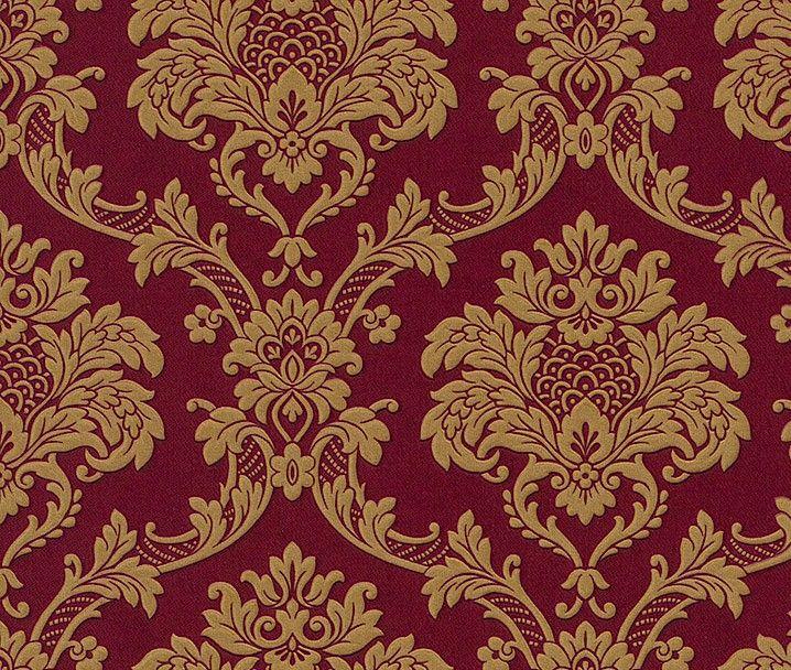 Trianon Neo Barock Retro Vinyl Tapete  Rot Gold Tapeten Rasch Trianon