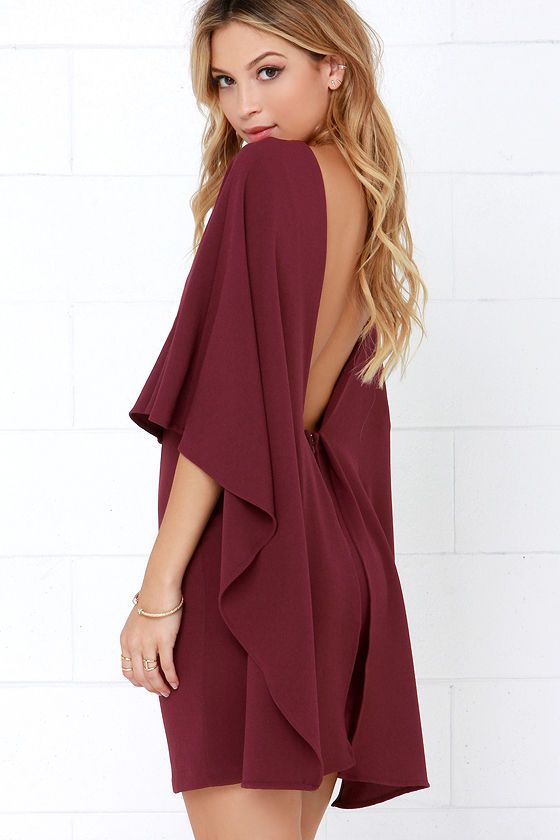 7ded3c7d08a Best is Yet to Come Burgundy Backless Dress at Lulus.com!