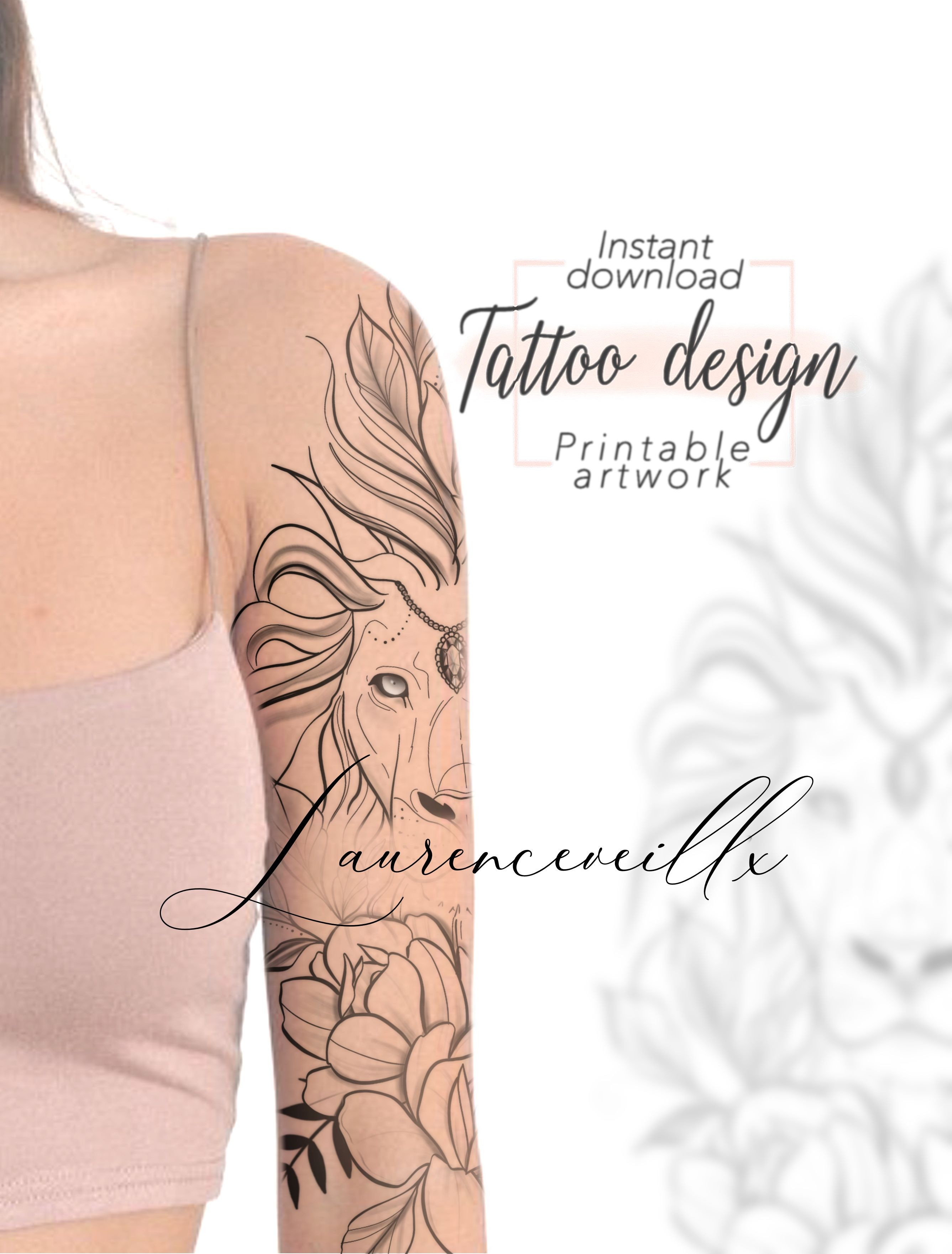 Printable Tattoo Design For Women Custom Thigh Tattoo Drawing Feminine Floral Unique Tattoo Printable Template Animal Lion Drawing Tattoo Designs For Women Unique Tattoos Tattoos