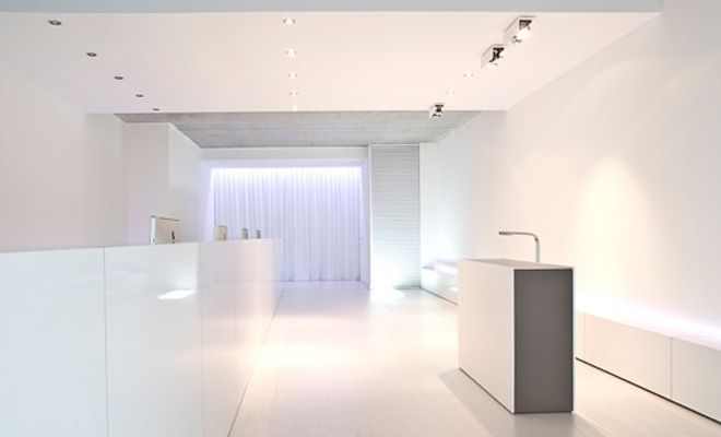 All-white interior with the furniture Washbasin FD 1 by architect ...