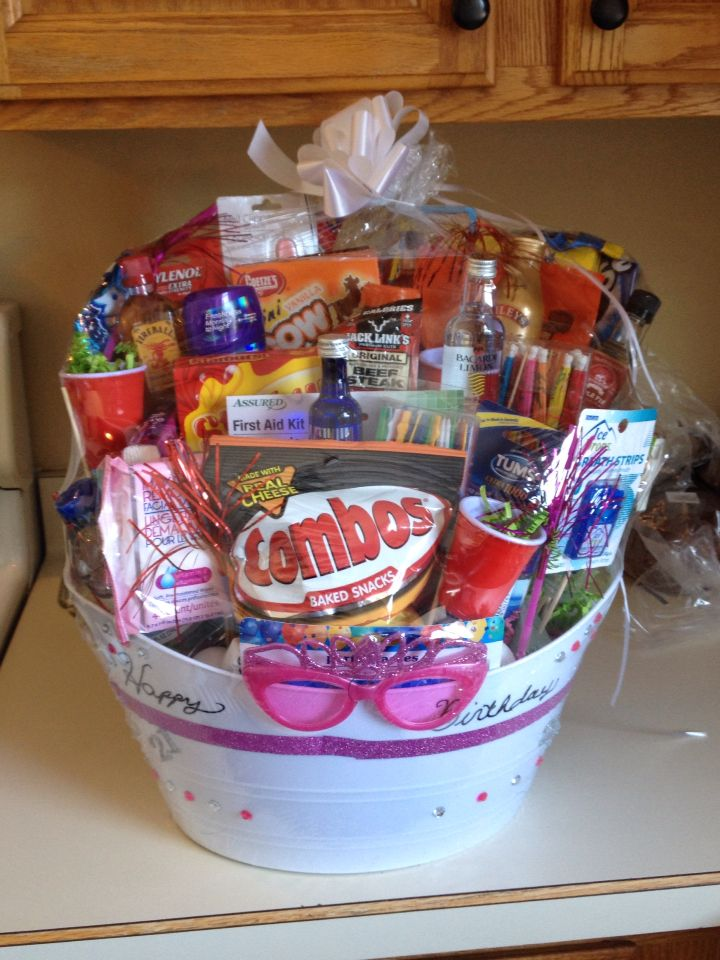 21 Year Old Birthday Basket Many Items Can Be Purchased At Your Local Dollar Store To Save Money Included For Party Evening And Hangover Remedies