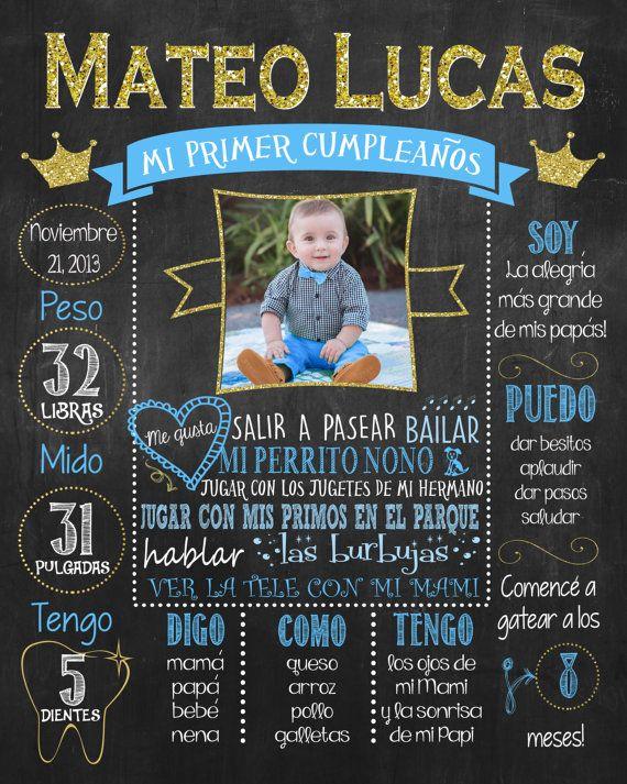 Mi primer cumpleaños poster, Principe Azul, First Birthday Chalkboard Poster,  Español, Spanish DIGITAL FILE a9b4203ad6f