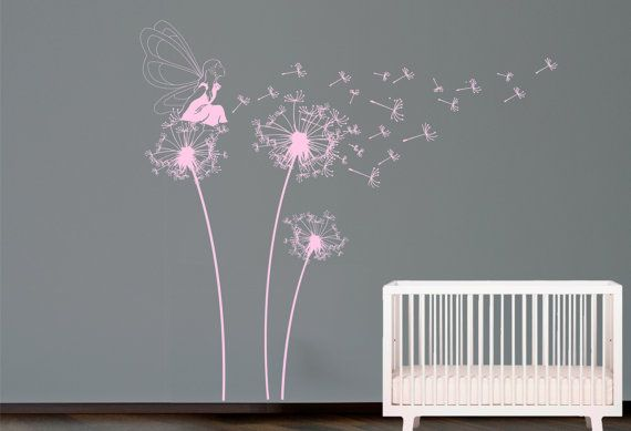 Fairy Blowing Dandelion Wall Decal. Wall By Decoryourwall On Etsy, $56.00
