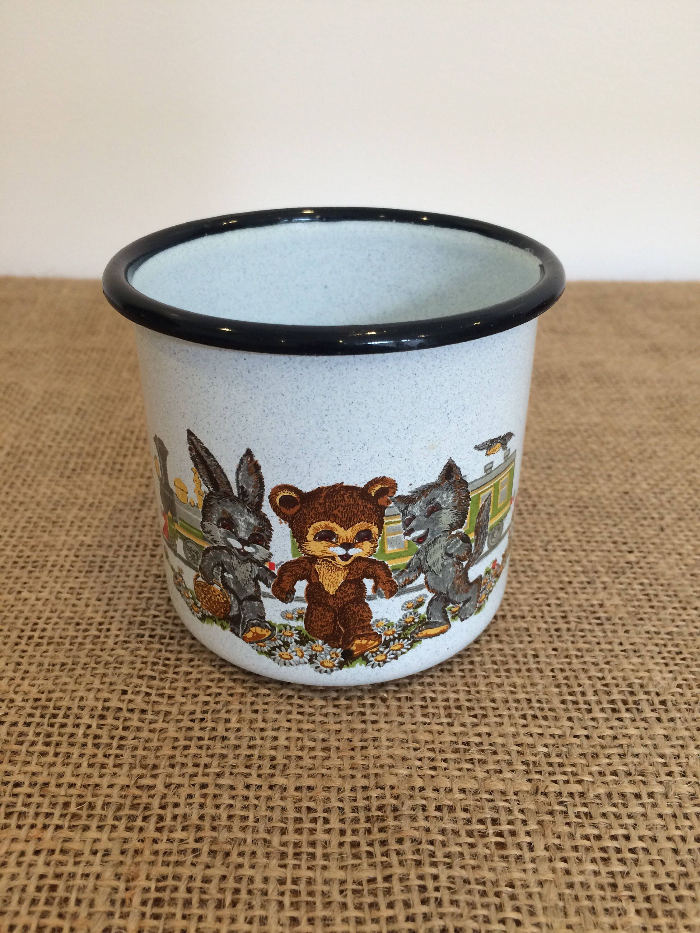 Vintage French Enamel Cup With Kitsch Bear And Rabbit Design