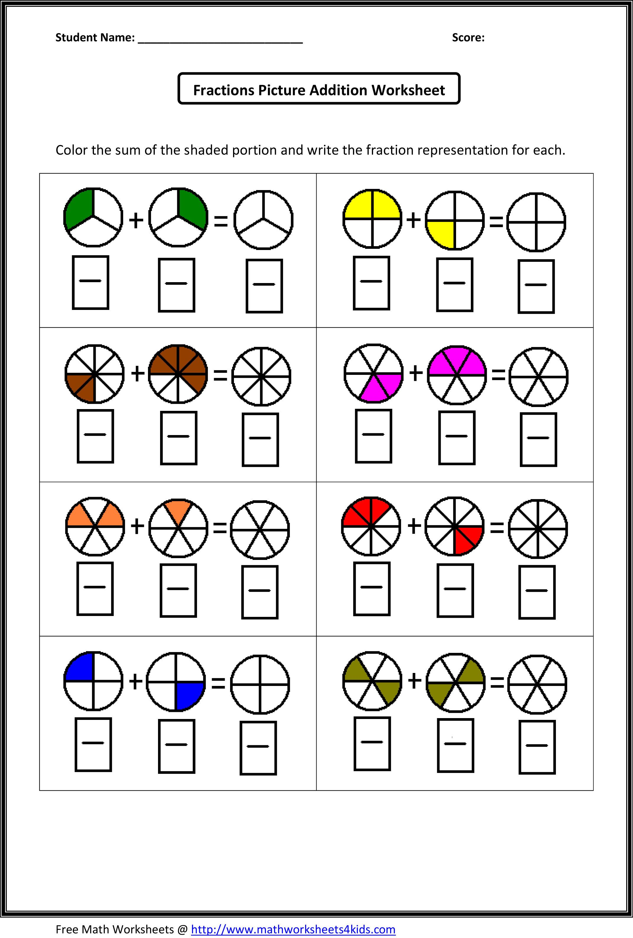 Free Worksheet Fraction Attraction Worksheet fraction circles worksheet printable worksheets pinterest addition worksheets