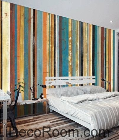 Retro color vertical striped stripes spliced ??painting wall art wall decor mural wallpaper wall  IDCWP-000255