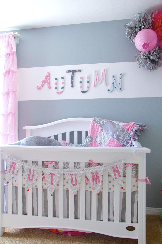 Autumns Gray And Pink Nursery Pink And Blue Nursery Baby Pink