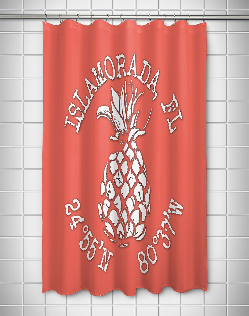 Custom Pineapple Coordinates Shower Curtain Coral Personalized