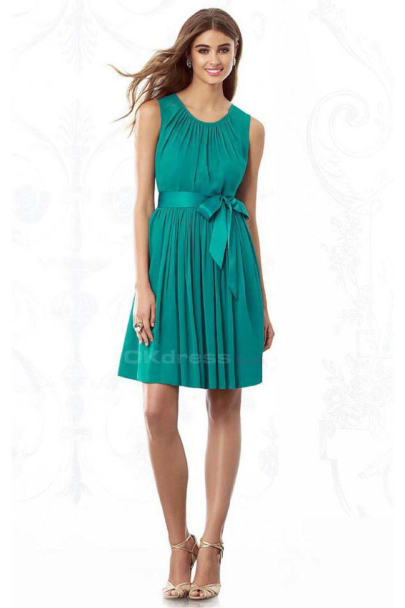 Hunter A-line Jewel Short Bridesmaid Dresses - by OKDress UK ...