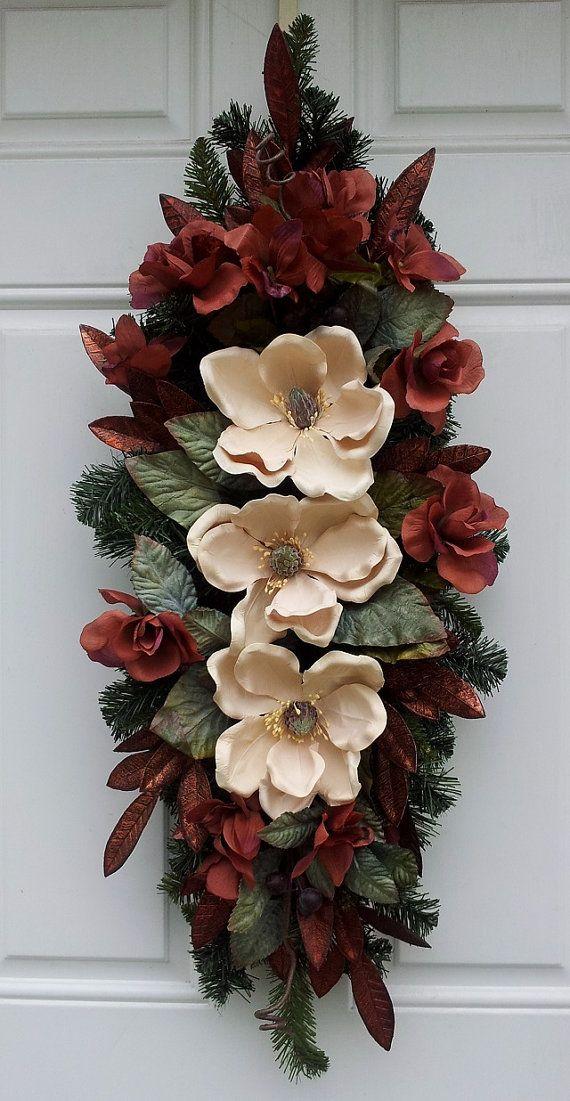 Elegant Fall Magnolia Berry Door/Wall Swag Wreath on Etsy $75.00 & Elegant Fall Magnolia Berry Door/Wall Swag Wreath | Magnolia Swag ...