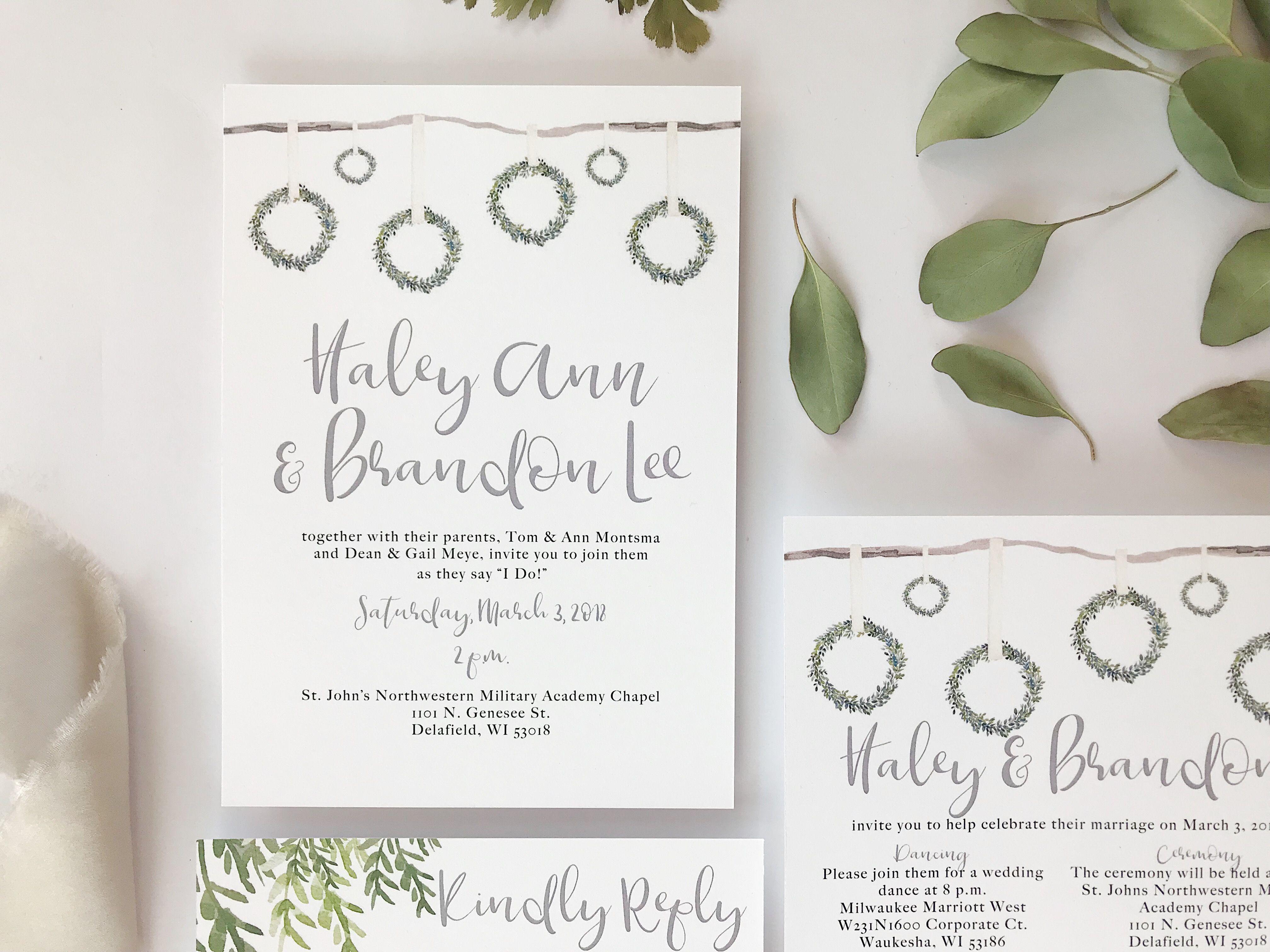 Wedding Invitation Reveal: Rustic Wreath by Unica Forma
