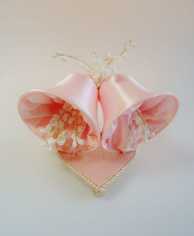 Vintage pink satin bells wedding cake caketop bell heart pearls