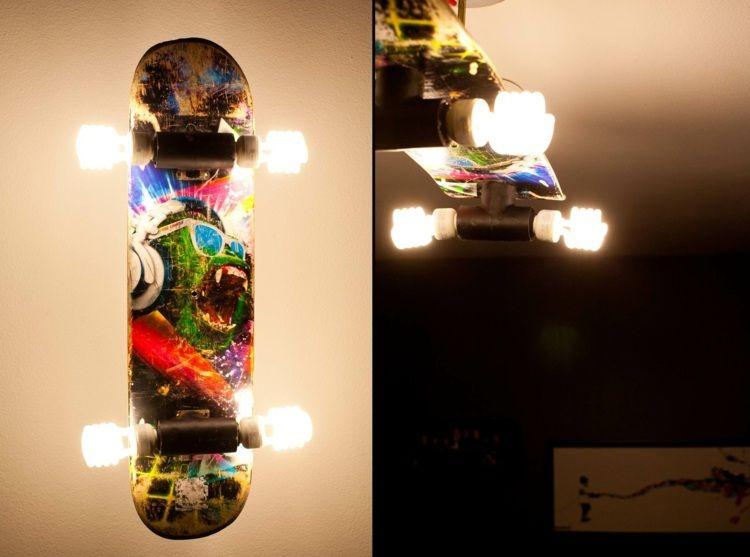 wandleuchte aus altem skateboard diy projekt. Black Bedroom Furniture Sets. Home Design Ideas