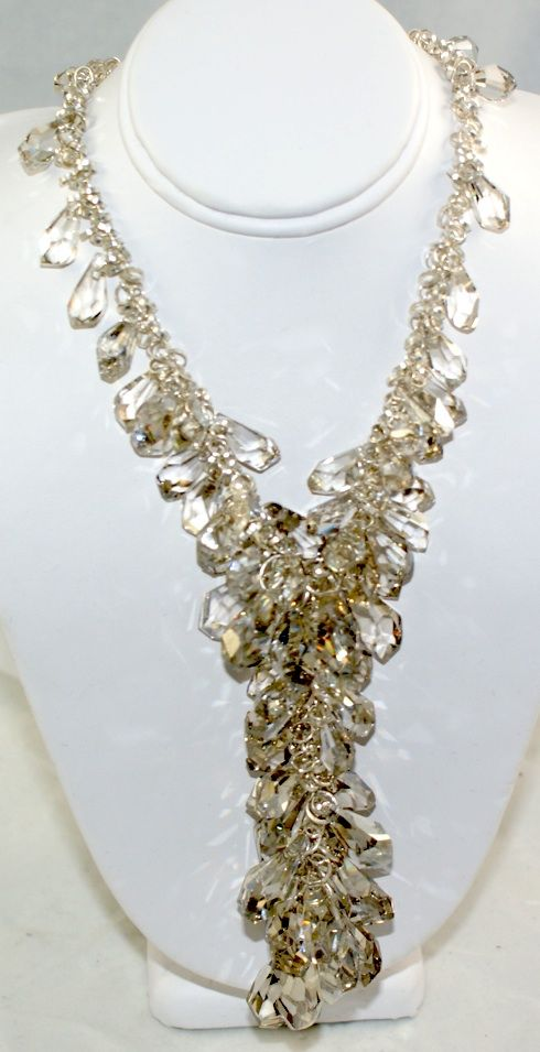 Crystal Falls-swarovski crystal necklace, is perfect for the bride or a dazzling night on the town.  Custom made.  Shown in sterling silver $450.00.