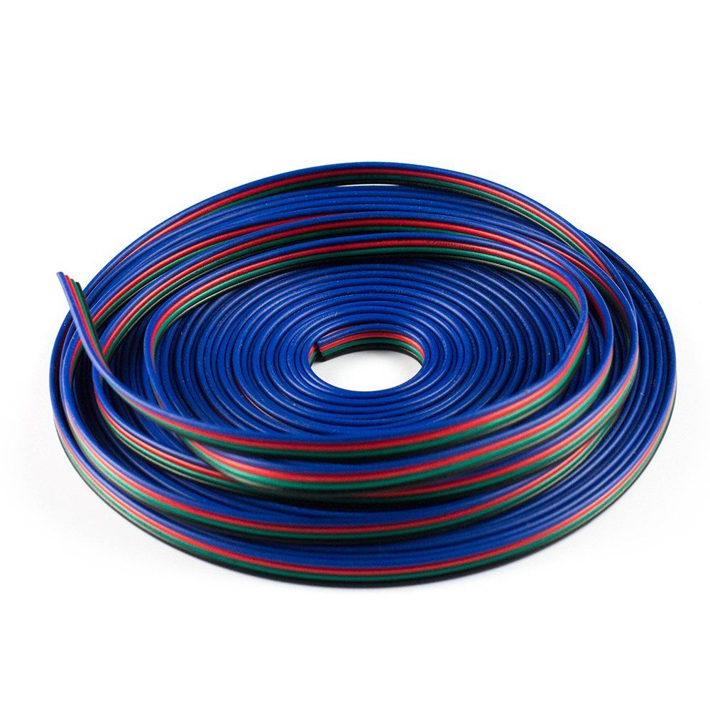 100m Lot4pin Cable For Rgb Led Strip Wire Extension Cord Wiring Colors Light Connector Flat Black 22 Awg Color Extensionrgbw 5 Core