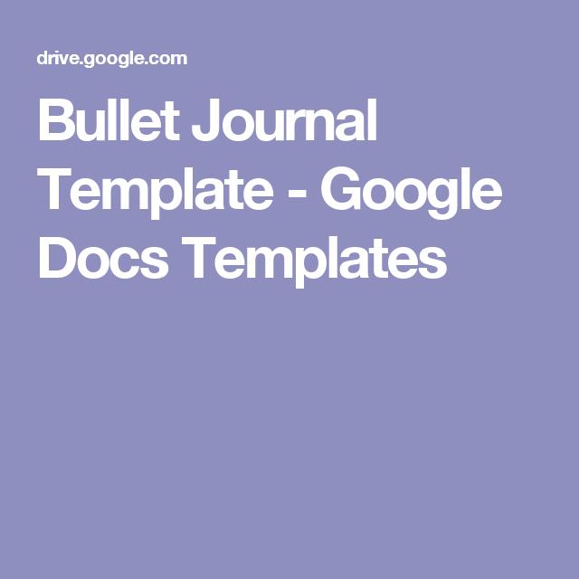 Bullet Journal Template - Google Docs Templates | Bullet Journal ...