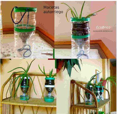 aprende a elaborar macetas de autorriego con botellas de plástico