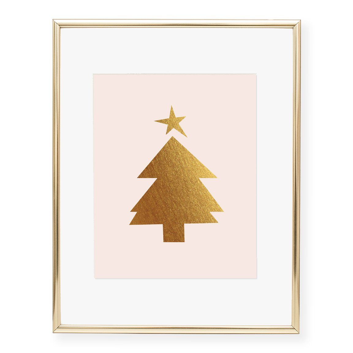 Christmas Tree Foil Art Print Winter Wall Art Holiday Art Prints Foil Art