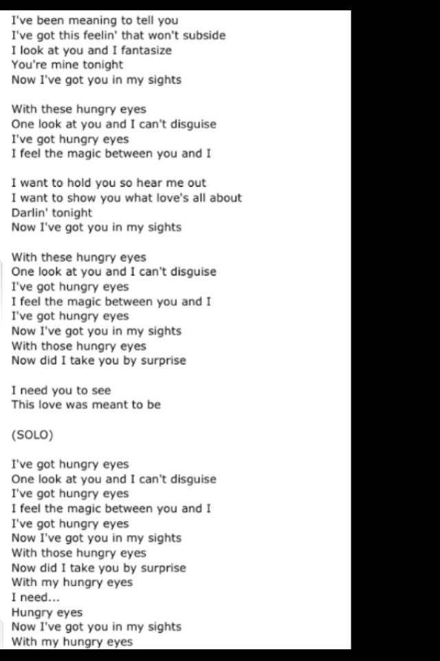 Eric Carmen Hungry Eyes Sweet Love Quotes How To Memorize