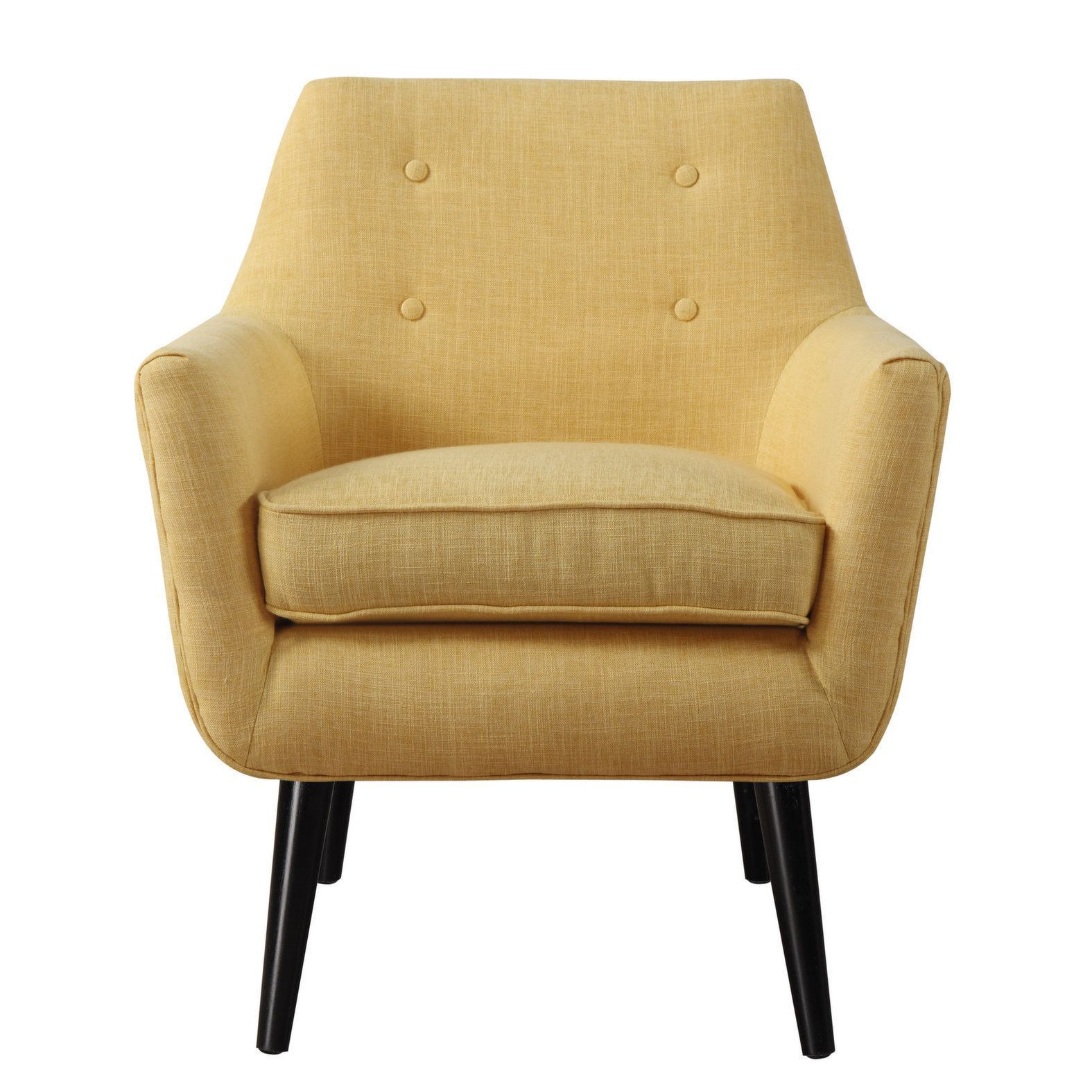 hand-crafted mustard yellow linen chair with button tufting | mid