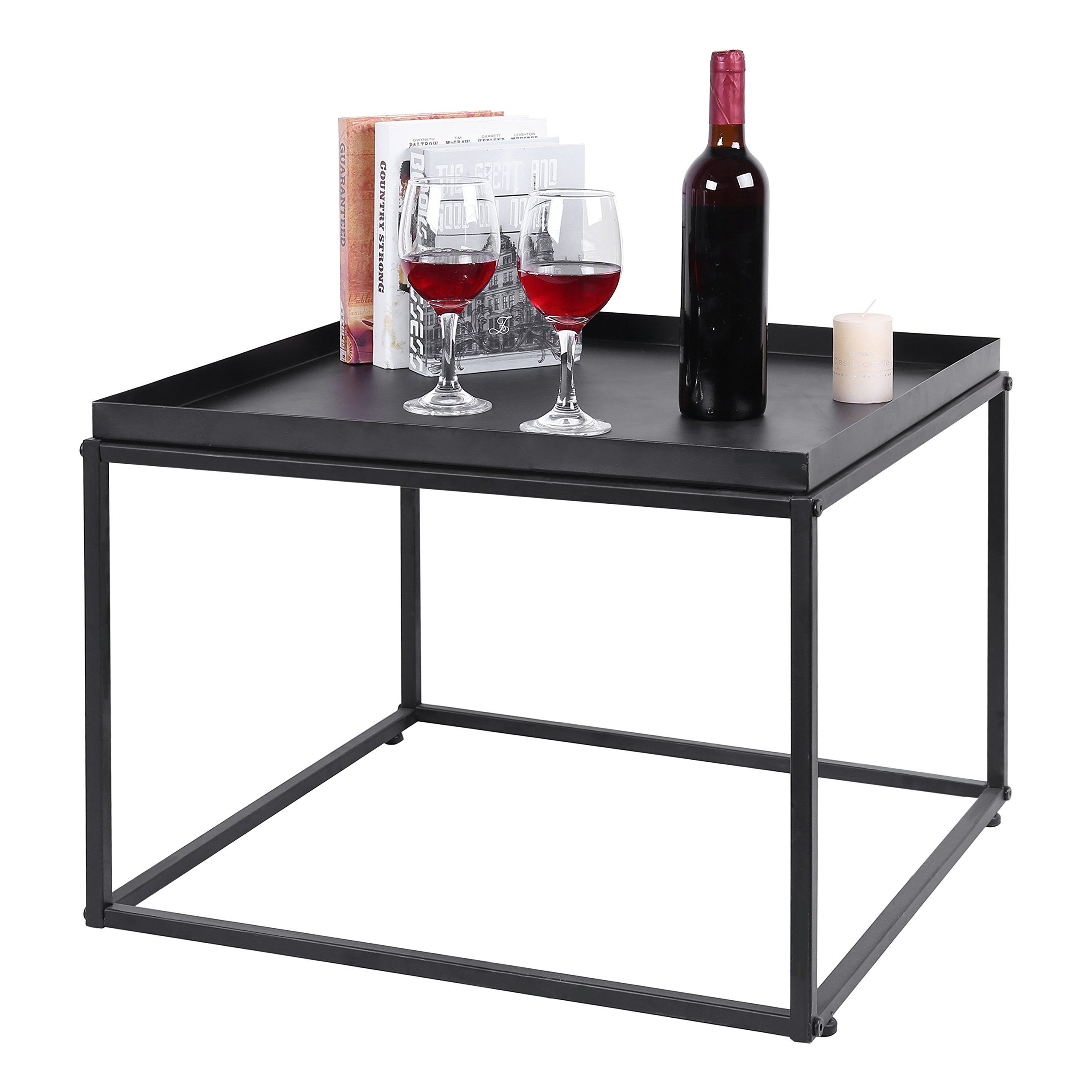 Mygift 24inch Modern Black Metal Square Tray Side Table Read More Reviews Of The Product By Visiting The Link Square Tray Living Room Furniture Side Table 24 inch square table
