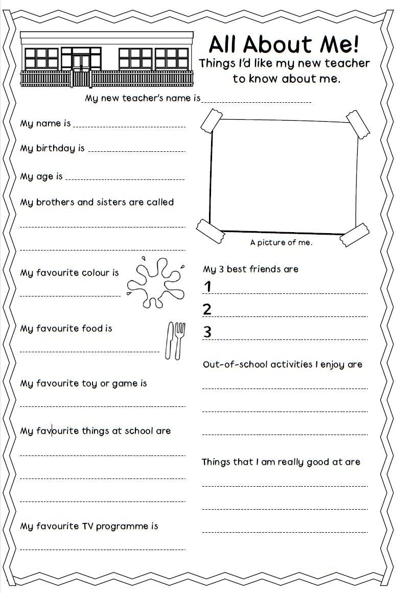 all about me worksheet personal information pinterest worksheets school opening and. Black Bedroom Furniture Sets. Home Design Ideas