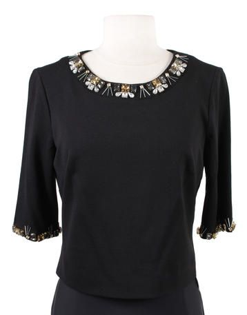 Eliza J - EJ5M9378 Black beaded 3/4 sleeve top with zipper back