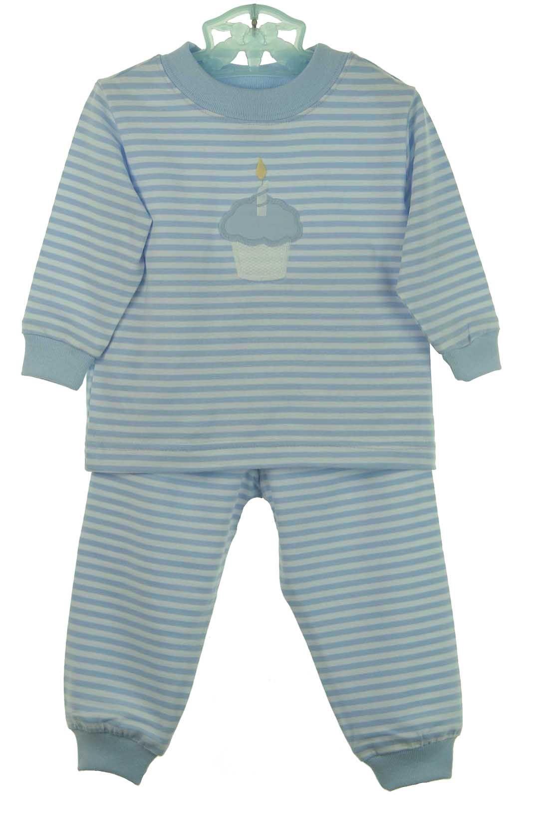 a157ca9997 NEW Bailey Boys Light Blue Striped Pajamas with Cupcake Applique  50.00