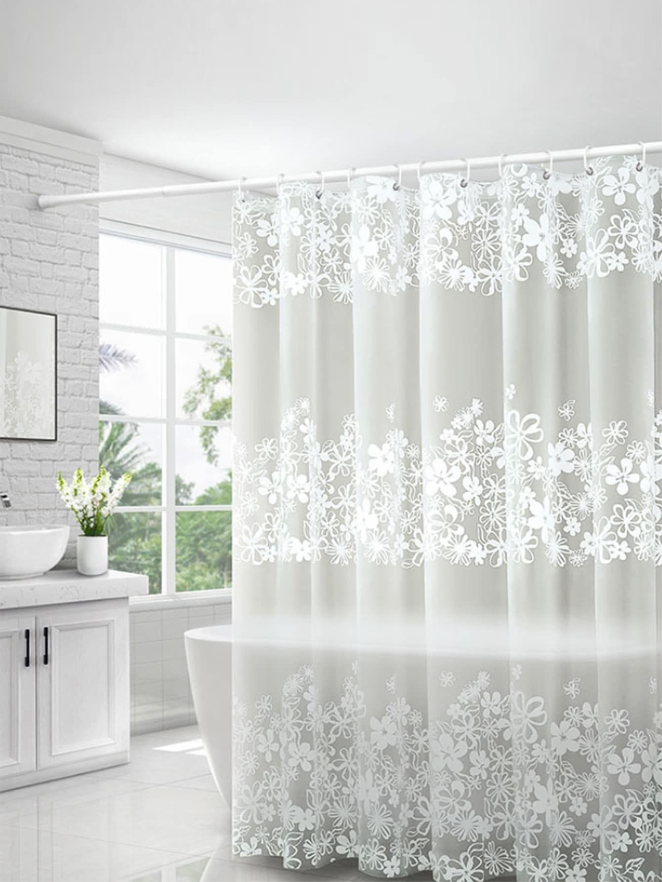 Flower Print Water Proof Shower Curtain Sponsored Ad Water