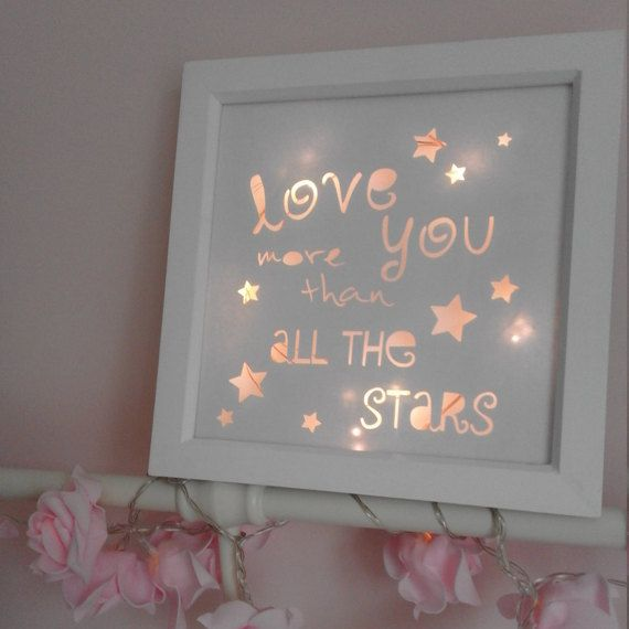 Nursery Decor Light Up Box Frame Baby Gift Framed Papercut Love