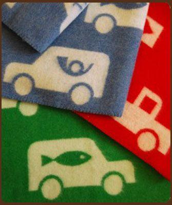 Klippan: ledikantdeken auto's groen wol