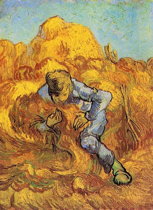 Vincent van Gogh: The Sheaf-Binder (after Millet).  Oil on canvas.  Saint-Remy: September, 1889.  Amsterdam: Van Gogh Museum.  (Info from vggallery.com)